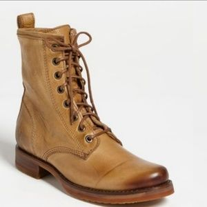 Frye Veronica Combat Camel Leather Boot 5.5